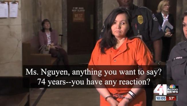 美甲店主阮秋紅出庭聆判,電視記者問她,判刑74年,有何回應?(翻攝自KSHB電視台畫面)
