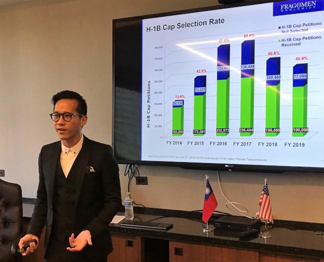 律師羅子凱說,H-1B遭遇近幾年來最高難度的挑戰。(特派員黃惠玲╱攝影)