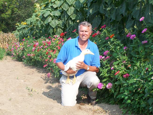 喬居吉樂維茨博士酷愛養鴨。圖為他與鴨子合影。(喬居吉樂維茨父子公司/提供)