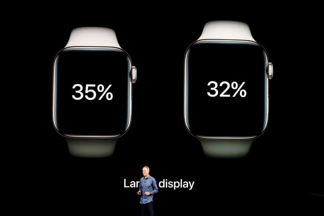 蘋果12日發表新款Apple Watch,螢幕更大、效能翻倍。路透