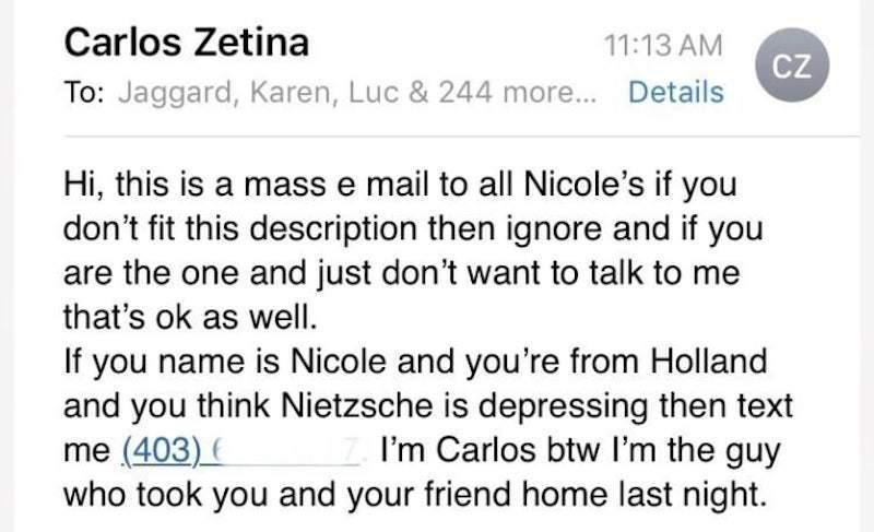 到底有多想找到妮可?卡洛斯一口氣寄信給246位妮可。圖擷自 buzzfeednews