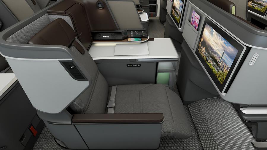 長榮航空新導入的波音787夢幻客機採二個艙等設計,此次交機的787-9配置304個座位,包括26個皇璽桂冠艙。