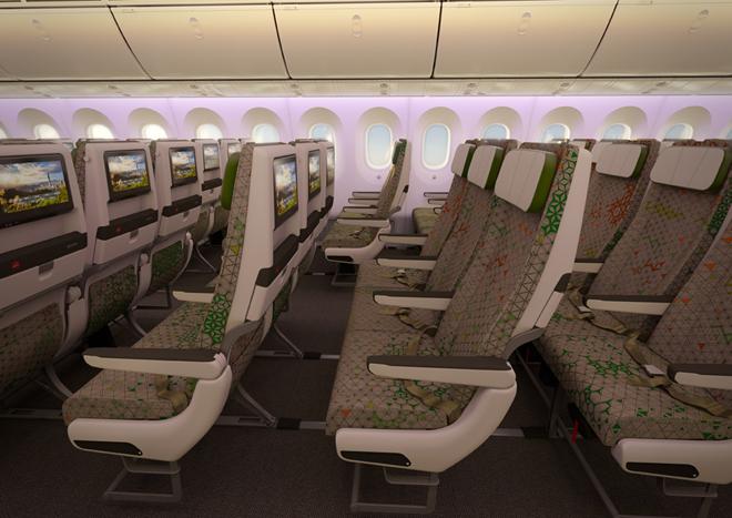 長榮航空新導入的波音787夢幻客機採二個艙等設計,此次交機的787-9配置304個座位,包括278個經濟艙。