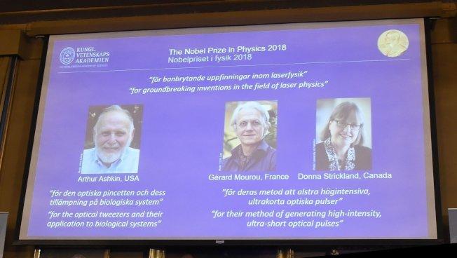 加拿大學者史垂克蘭(右)為歷來獲諾貝爾物理獎的第3位女性,也是55年來首度獲這獎項的女性。 歐新社