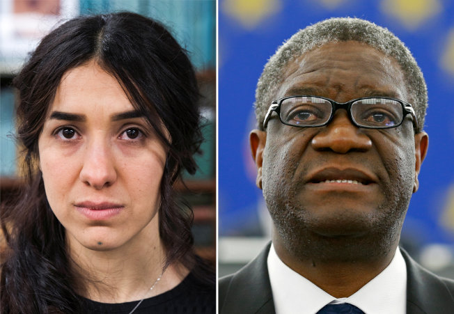 今年的諾貝爾和平獎頒給婦權運動人士Nadia Murad(左)和民主剛果婦產科醫師Denis Mukwege(右)。  路透