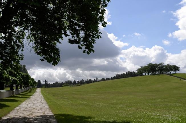進入園內的大視野,左手邊是火葬場和教堂,右手邊是冥想山丘。