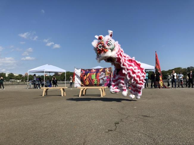 首屆紐約國際獅王大賽六隊參賽;中國湛江市龍灣龍獅藝術團奪冠。(主辦方提供)