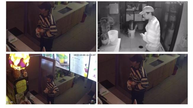 一名身穿黑白条纹的嫌犯2日在罗斯福大道饮料店行窃。(警方提供)
