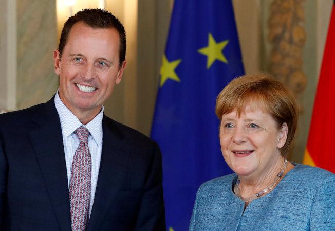 美國現駐德國大使葛瑞尼爾(左)也是媒體猜測的駐聯合國大使繼任人選之一。(路透)