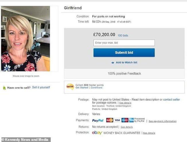 男友把女友放上ebay拍賣。圖取自每日郵報