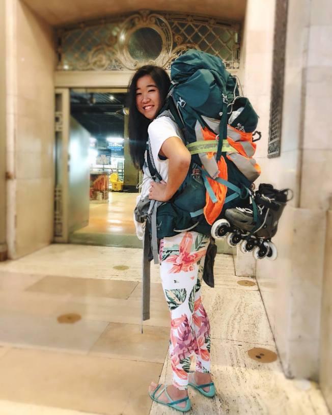 香港女孩何易恩,為了要展現這世界上仍然充滿了善良與愛心,在今年3月初,挑戰踩直排輪橫跨美國,並且要只靠陌生人的幫助來度過這段9600公里長的旅程。Facebook/The Bladress