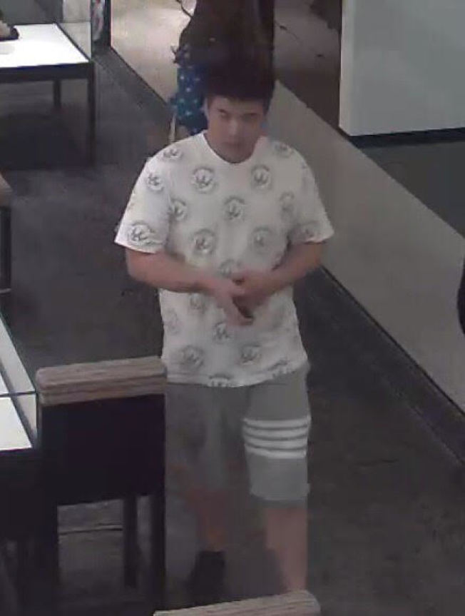 第一名嫌犯為短髮的亞裔男子,犯案時身穿白色上衣和灰色短褲。(警方提供)