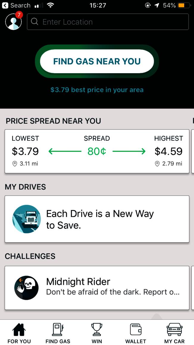 利用app查詢各地油價排行榜。來源:GasBuddy app