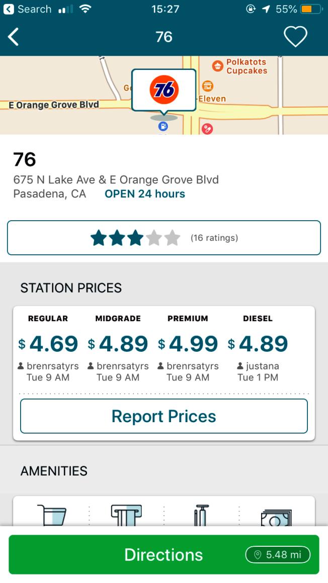 巴沙迪那市每加侖4.99美元。來源:GasBuddy app