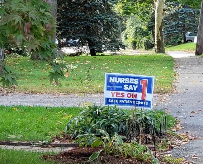 麻州公投「問題一」贊成和反對方都投下大量金額做廣告,圖為牛頓市住宅區內前院的贊成(yes)標示牌。(記者唐嘉麗/攝影)