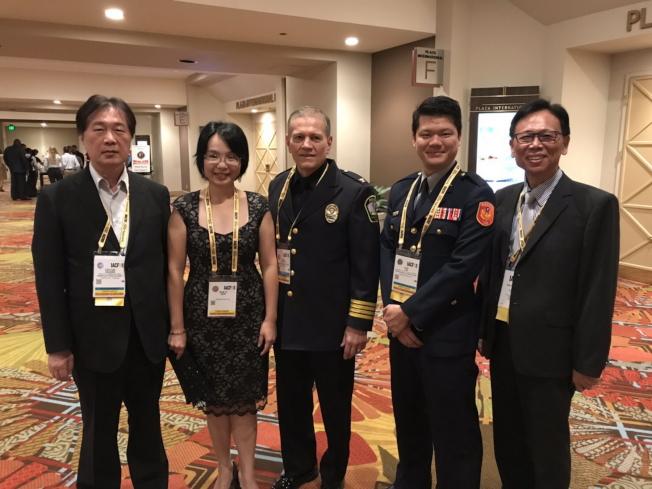 IACP新任會長Paul Cell(中)與部分台灣代表團成員合影。(鄭鴻鈞提供)