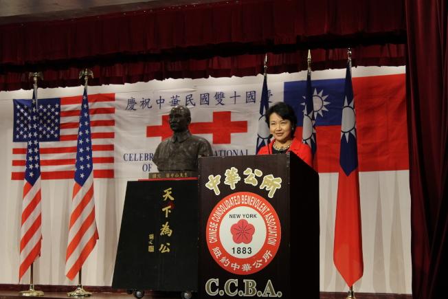 徐儷文表示,要堅持維護中華民國2300萬同胞自由民主的生活方式,捍衛中華民國的有序發展。(記者張筠/攝影)