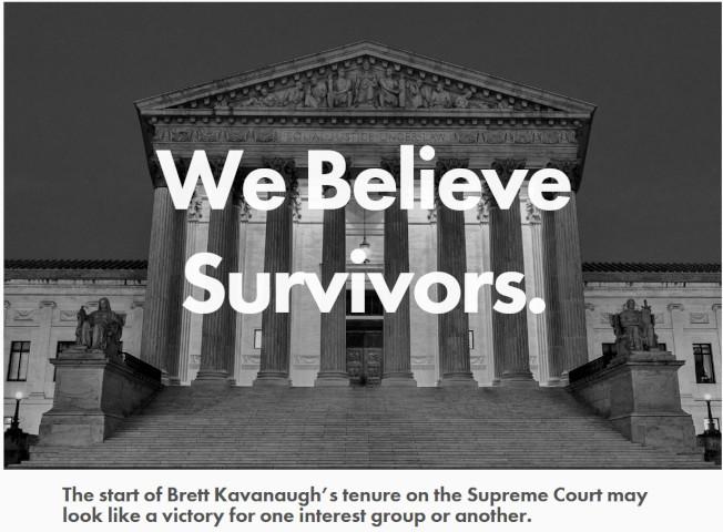 非黨派最高法院監督組織「改善法院」買下以大法官卡瓦諾姓名成立的網域BrettKavanaugh.com,在這個網站宣導反對性攻擊及性虐待的理念。(取自BrettKavanaugh.com)