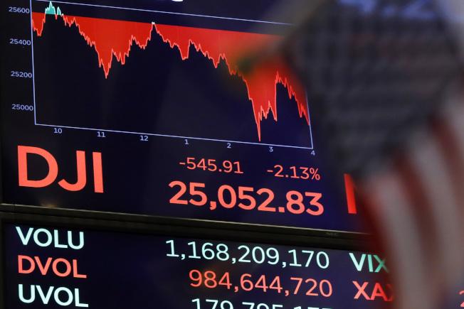 美國股市接連第二天的暴跌,繼10日崩跌831點後,11日道瓊指數再暴跌545點,造成全球嚴重股災。 (美聯社)