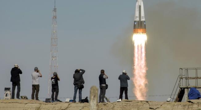 俄羅斯聯合號火箭發射升空。(歐新社)