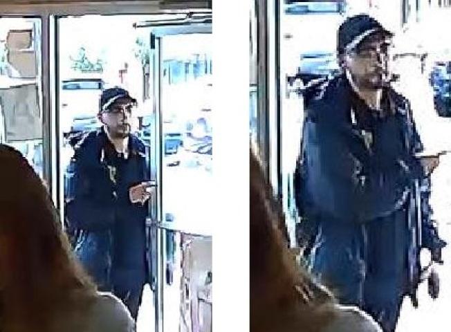 店內監控視頻中顯示的白人嫌犯的體貌特徵。(警方提供)