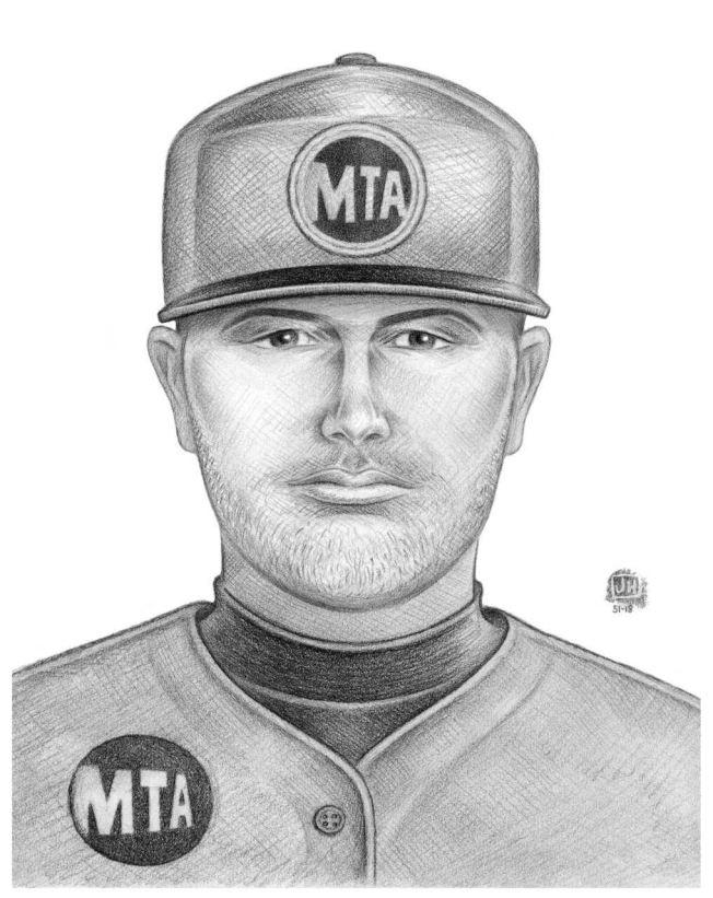 68分局公布嫌犯畫像圖,為白人男子,犯案時曾戴和身穿有MTA標誌的帽子和衣服。(警方提供)