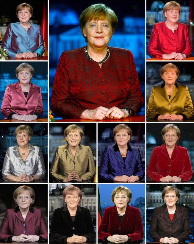 這是梅克爾2005年11月(右下一)當選德國總理以來,每年的新年賀歲照,一直到2017年的正中間的照片。(Getty Images)
