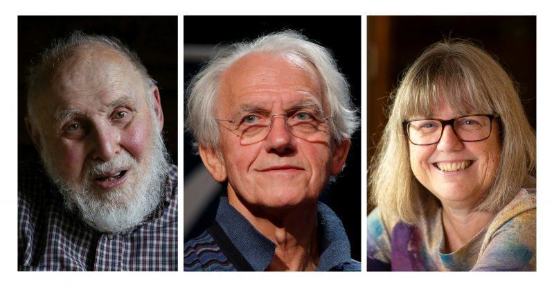 2018年諾貝爾物理學獎頒給3名學者。圖左到右分別為美國學者亞希金(Arthur Ashkin)、法國學者穆胡(Gerard Mourou)和加拿大學者史垂克蘭(Donna Strickland)。路透