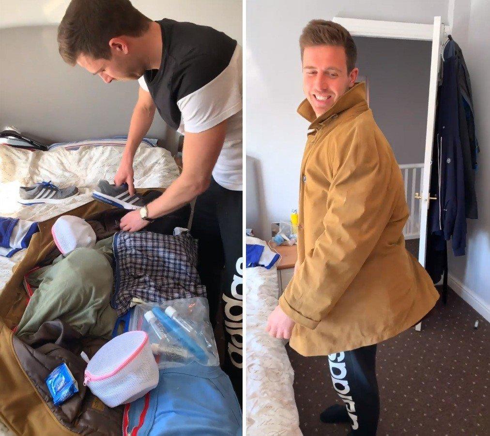 英國男子Lee Cimino為了省下廉航的行李費,將外套改造成大型收納袋。 圖擷自Lee Cimino臉書影片