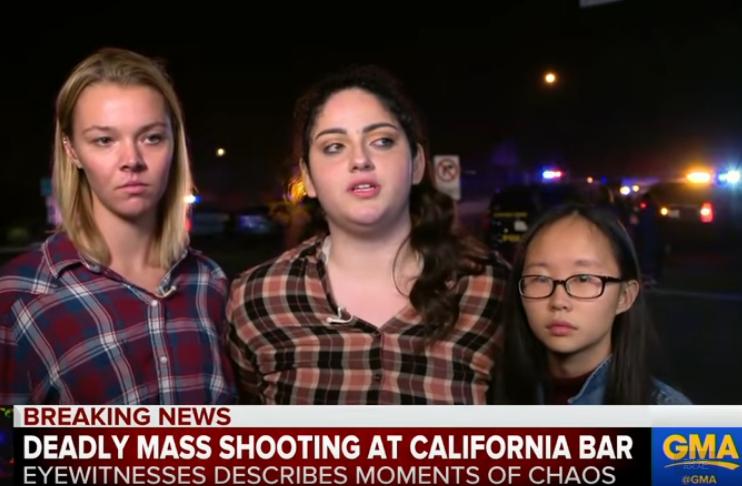 一名華裔女大學生王內莉(右,音譯,Nellie Wong)當晚在南加槍擊現場與朋友慶祝21歲生日,所幸逃過一劫。圖截自YouTube