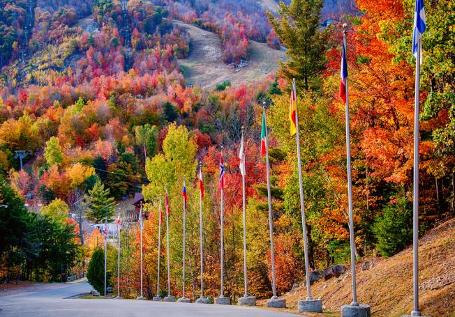 奧運滑雪場,滿山的葉子已經變色了,黃得柔美,紅得熱烈,綠得盎然。