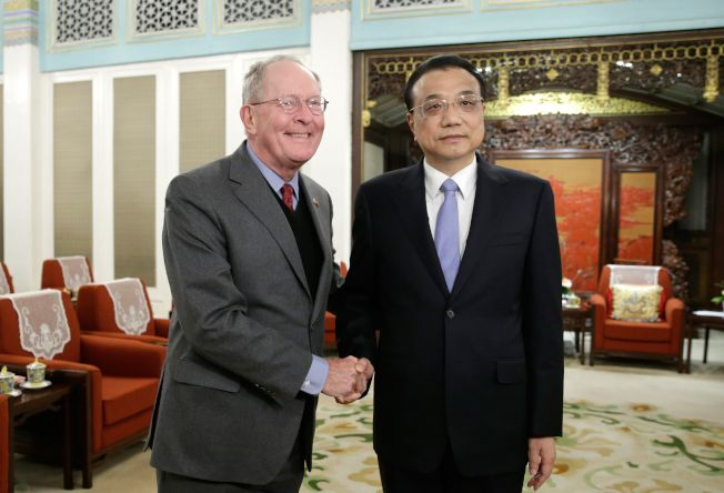 美國共和黨國會議員訪問北京,在中南海會見中國總理李克強。(Getty Images)