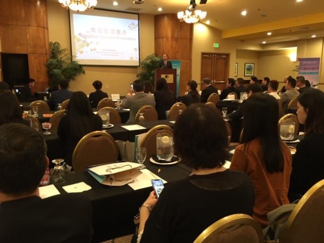 青島旅遊推介會,向南加州華洋旅遊業界推介青島,將青島豐富而獨特的濱城旅遊資源介紹給洛杉磯民衆。(記者楊青/攝影)