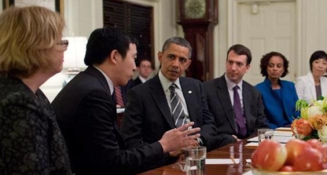 歐巴馬總統接見楊安澤。(圖片為作者提供)