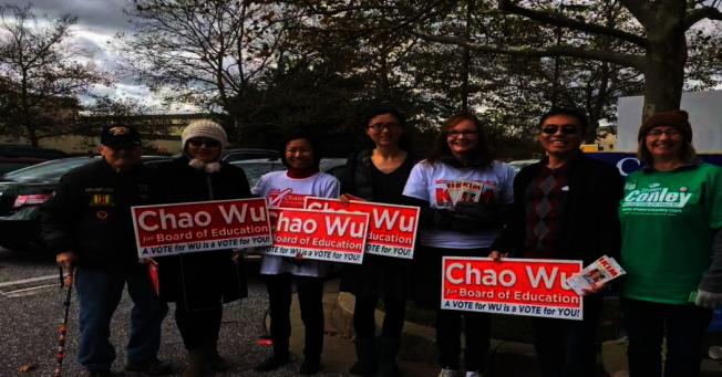 馬州哈維郡華人支持第一代移民伍超參選教委會委員,展現空前熱情,哈維郡華裔家長聯合會會長徐菁製作了「Please Vote」視頻向華人選民催票。(徐菁提供)