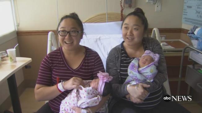 華裔雙胞胎姊妹楊寶意與楊寶蔻在同一天產下寶貝女兒。(電視新聞截圖)