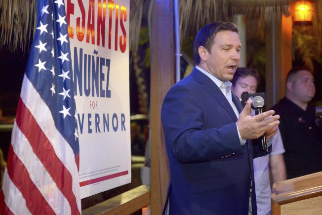 全國指標性州選舉,佛州共和黨候選人戴桑提斯以微小差距險勝。(美聯社)