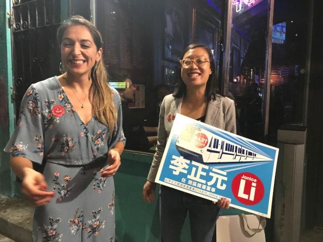 李正元(右)與盧佩思(左)分別在捷運董事及教委選舉中以高票姿態領先。(記者李秀蘭/攝影)