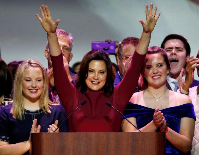 密西根州,民主黨人葛瑞琴.惠特默(Gretchen Whitmer)擊敗共和黨,拿下州長。(路透)