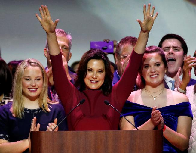民主黨的惠特默(Gretchen Whitmer)擊敗共和黨,拿下密州州長。(路透)