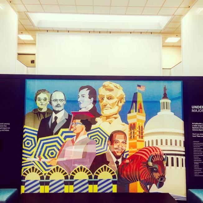 為星巴克全美首家手語門店創作壁畫的華人失聰藝術家王易喬,還有許多不同作品。(王易喬提供)