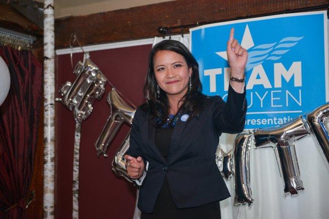 阮簪擊敗試圖連任的里昂斯當選州眾議員。(取自臉書)