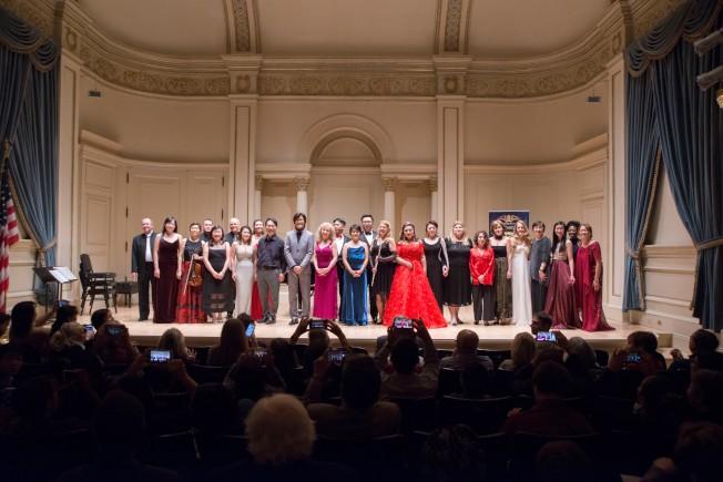 國際音樂藝術學會日前在卡內基音樂廳舉辦音樂會,逾20位各族裔音樂藝術演奏家、樂壇名人參與。(主辦方提供)