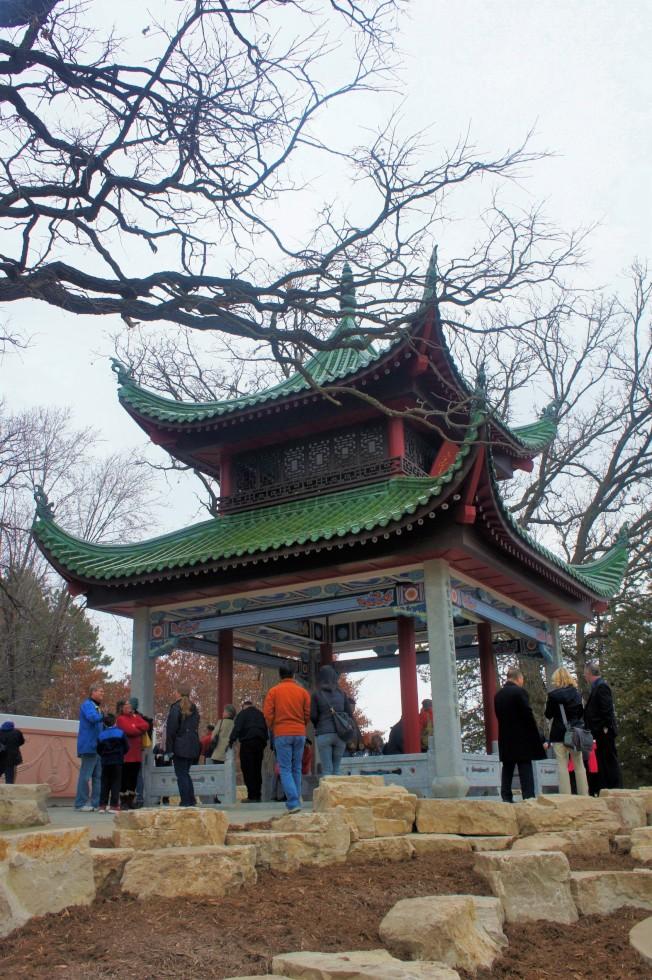 中國四大名亭之一的愛晚亭,複製重現在明州聖保羅市的費倫公園(Phalen Regional Park),取名為湘江亭。(記者陳曼玲/攝影)