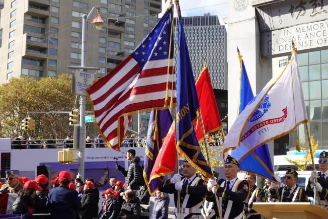 紐約華裔美國退伍軍人會遊行和紀念儀式。(記者金春香/攝影)