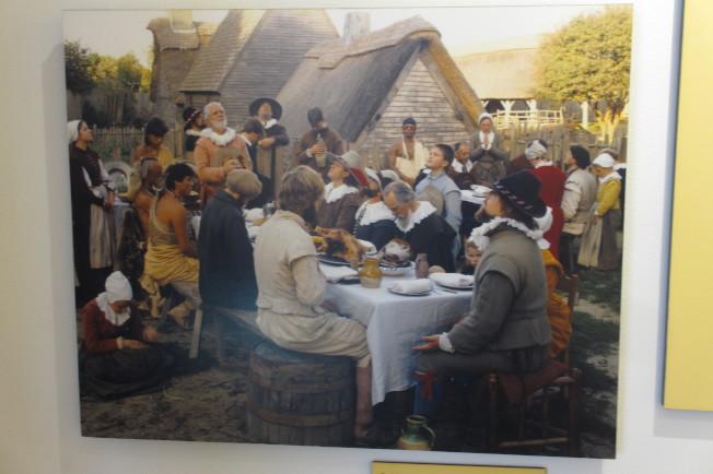 油畫描繪首次感恩聚餐。