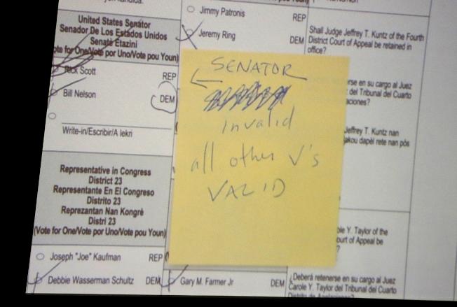 佛州布羅瓦郡選務監督辦公室在投影機上放大一張選票,最後裁定該選票無效。(美聯社)