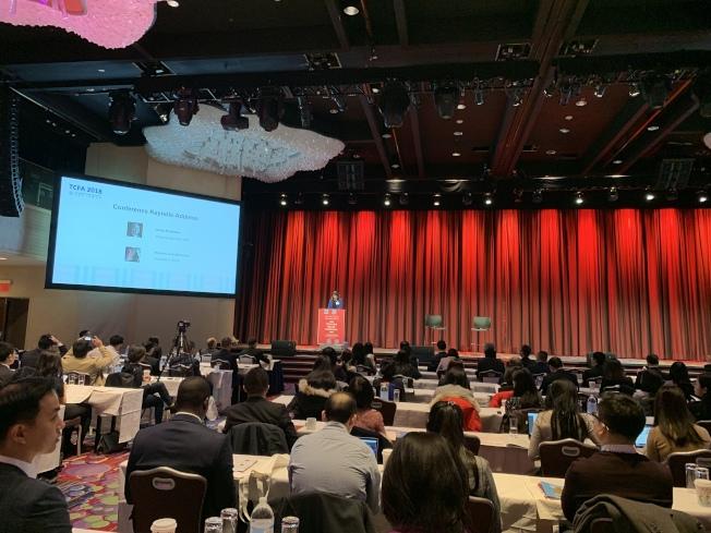 中美數十家金融企業主管和學界人士在會上分享對美中關係的看法。(記者和釗宇/攝影)