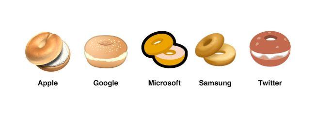 社群媒體及網路平台的各種貝果表情符號。(翻攝自表情圖示百科Emojipedia)