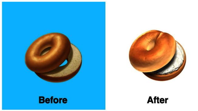 蘋果測試版的貝果表情符號惹議以後,推出抹上奶油起司的新版貝果。(翻攝自表情圖示百科Emojipedia)